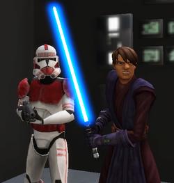 Derek leading shock troopers through base