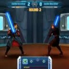 Aron dueling Anakin Skywalker