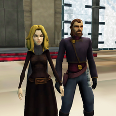The Baroness and Her Baron at the Royal Mandalorian Palace: An expecting Alexzandria Grayson-Prosstang reaches out in the Force, as her loving husband Ferrigo Prosstang holds her hand (18 BBY)