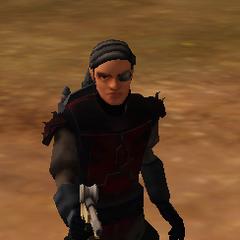 Phi-ket Vizsla aka the Governor, the murderous psychotic leader of the Shadow Mandalorians