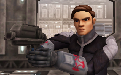 Luke with his blaster pistol