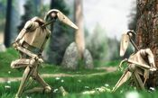 Two battle droids by a tree