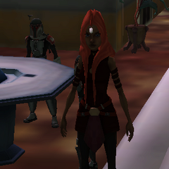 Lani's young diplomat friend, Meshla Kryze, at a political discussion with the Felucian Government.