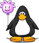 Pink Puffle Balloon on a Player Card