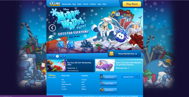 File:Club Penguin homepage for Merry Walrus party.png