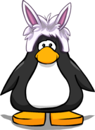 Rabbit Puffle Cap on a Player Card