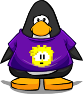 Yellow Pixel Puffle Tee on a Player Card