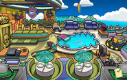 Halloween Party 2014 construction Puffle Hotel Roof