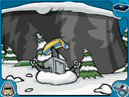 Snow-bot stuck in snow pile