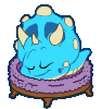 Blue Dino Puffle Sleeping