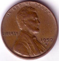USD 1959 1 Cent D