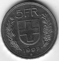 CHE CHF 1997 5 Franc