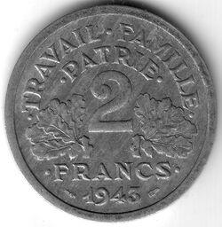 FRF 1943 2 Franc