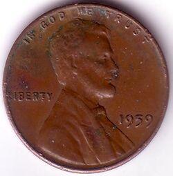 USD 1959 1 Cent