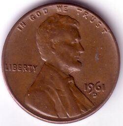 USD 1961 1 Cent D