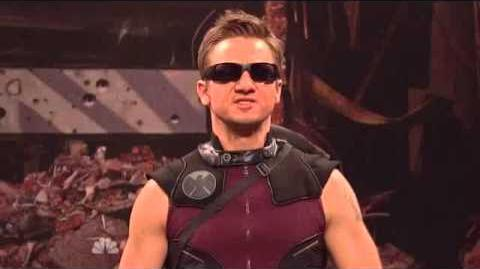Jeremy Renner as HAWKEYE The Avengers Saturday Night Live Skit part 7 9-0