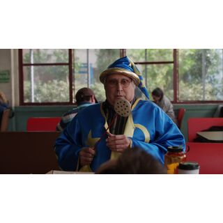Pierce in a wizard costume.