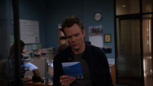 Jeff reading the pamphlet