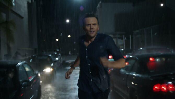 Jeff running in the rain