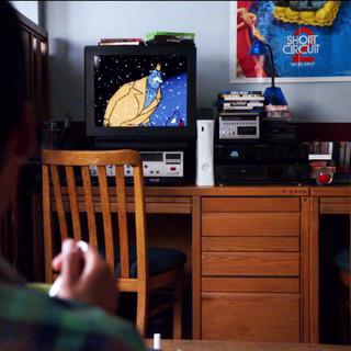 Abed watching TV.