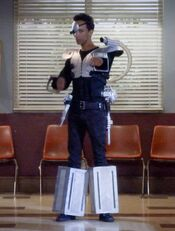 Abed cosplaying as Kickpuncher
