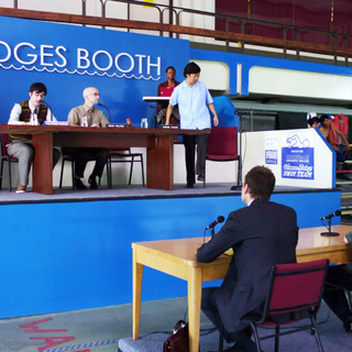 The judges' booth.