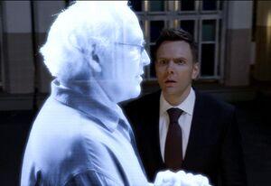 Jeff and hologram Pierce