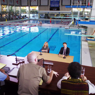 The Olympic-size swimming pool.