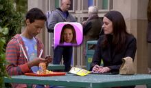 S06E01-Abed Frankie Annie emoticon and Lets chips