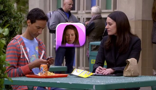 File:S06E01-Abed Frankie Annie emoticon and Lets chips.jpg