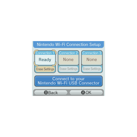 Nintendo DS Nintendo Wi-Fi Connection settings: Where you can pick which network you set up to use.