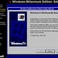The 1st part of the Windows ME setup