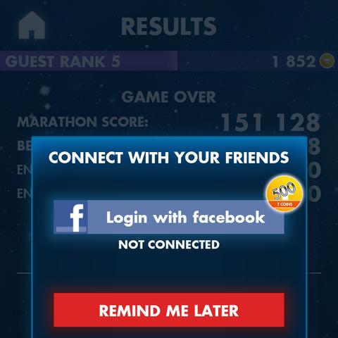 The Facebook prompt in Tetris.