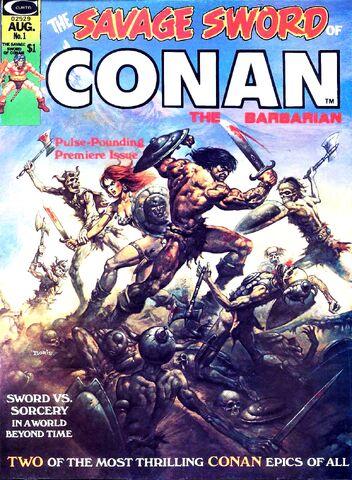 File:-1 agosto 1974 . Conan y Red Sonja en La maldición de los muertos vivientes Guión de Roy Thomas, lápices de John Buscema..jpg