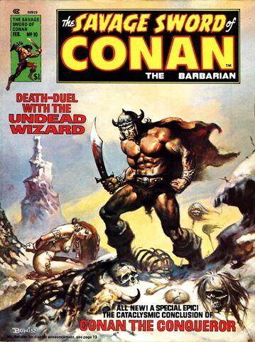 File:-10 febrero 1976. Conan el Conquistador. Guión de Roy Thomas, lápices de John Buscema, tintas por la tribu (Tony DeZuniga y otros).jpg