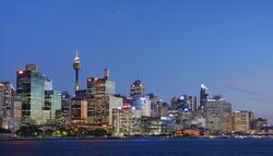 City of sydney from the balmain wharf dusk cropped2