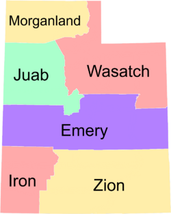 Map of the Deseret (with areas labeled)