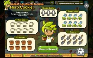 Third step Completed - Collect Ingredients to bake Herb Cookie!