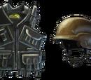 Chaleco Kevlar y casco
