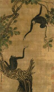Yi-Yuanji-Two-gibbons-in-an-oak-tree