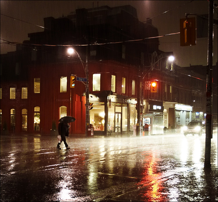 Umbrella-man rain sherbourne night