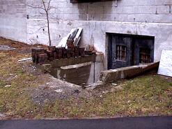 W basement door