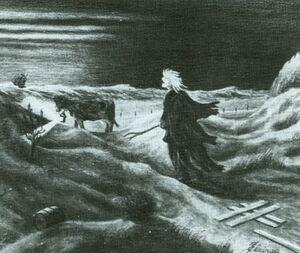 Rixt van 't Oerd die door de duinen loopt. Aan de koe hangt een lantaard om schepen te lokken, door schilder Jan Elzinga uit Haren