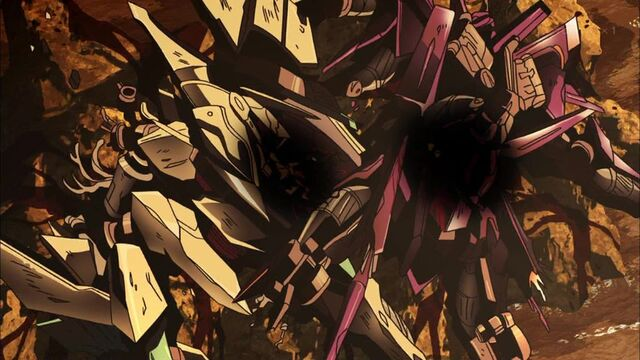 File:Cross Ange ep 03 Arquebus Zola and Glaive destroyed.jpg