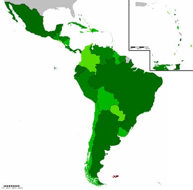 Map of latin america