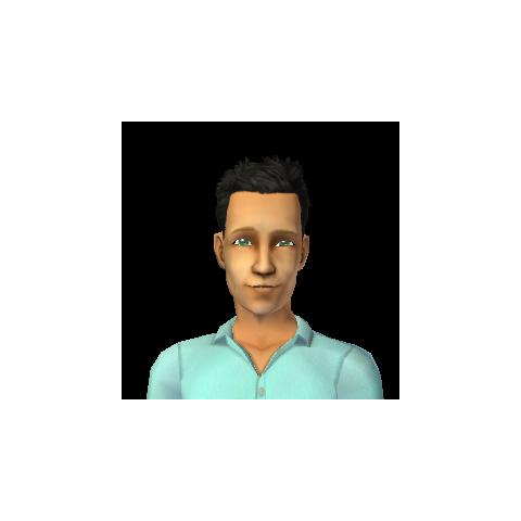 Gilbert Jacquet's in-game appearance. Please note that due to the limitations of Create a Sim, he will have black eyebrows if his appearance is extracted with <a href=