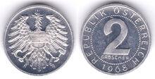 Austria 2 groschen 1968