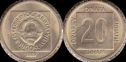 Yugoslavia 20 dinara 1989