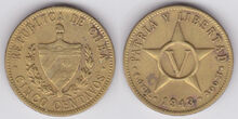 Cuba 5 centavos 1943