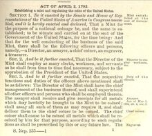 Coinage Act of 1792 1st page